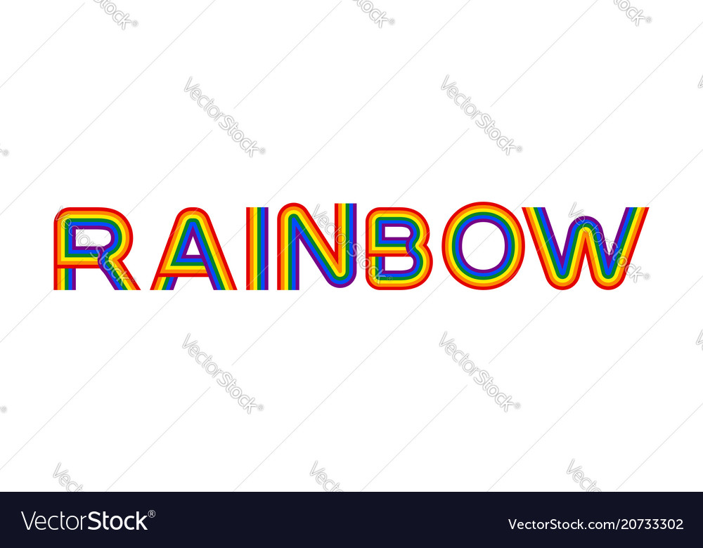 Rainbow lettering multicolored letters on white
