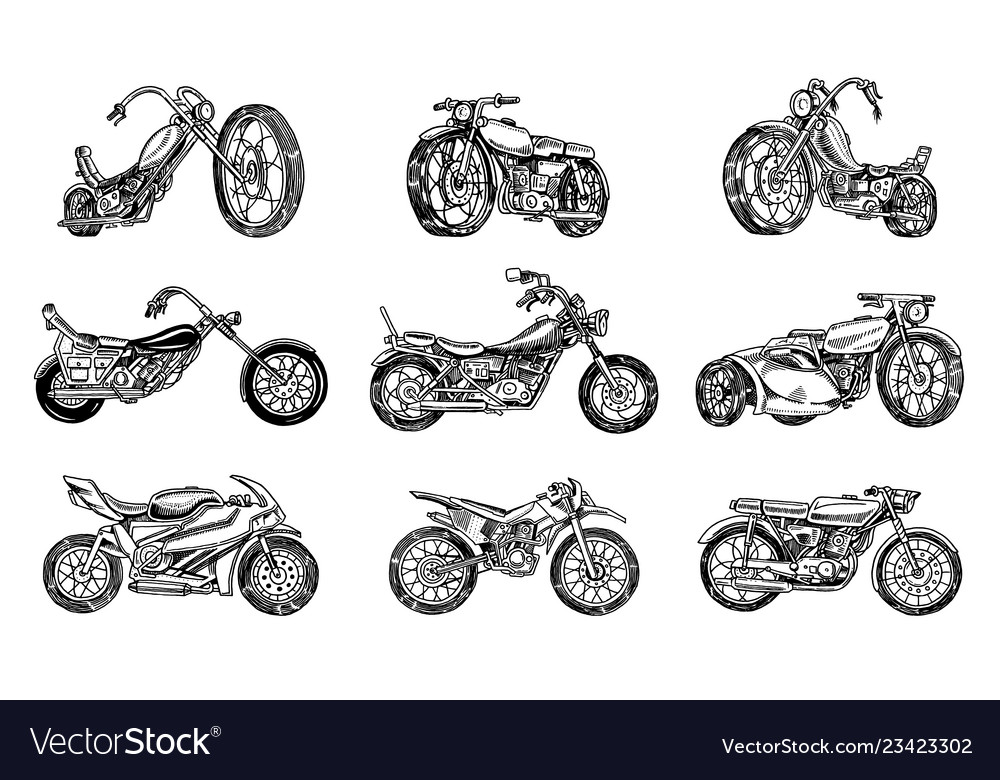 Set of vintage motorcycles collection of bicycles