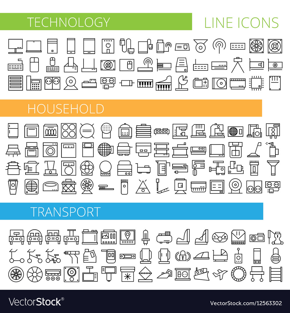 Thin line icons for