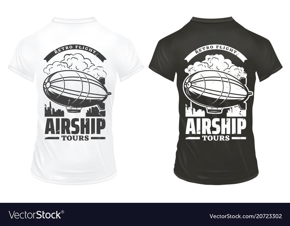 Vintage airship prints on shirts template
