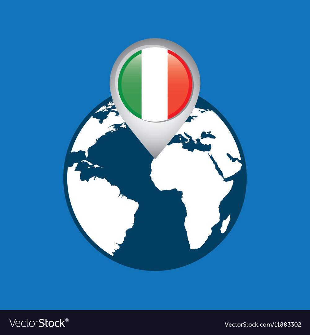 World map with pointer flag italy