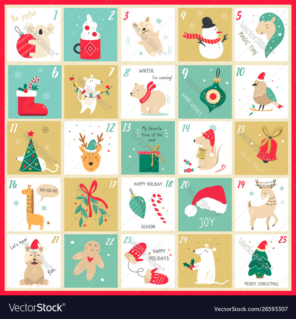 Advent christmas calendar with elements