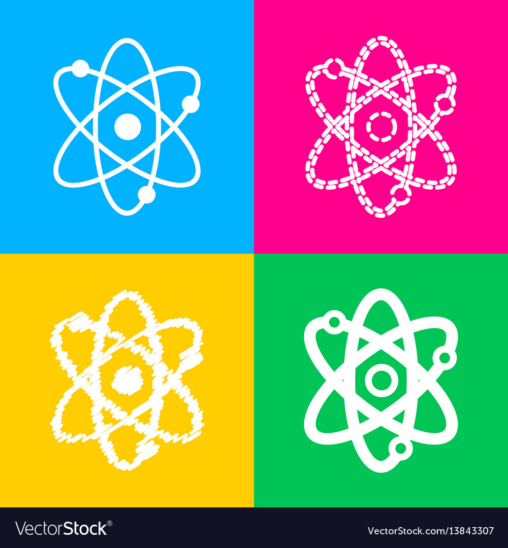 Atom sign four styles of icon on