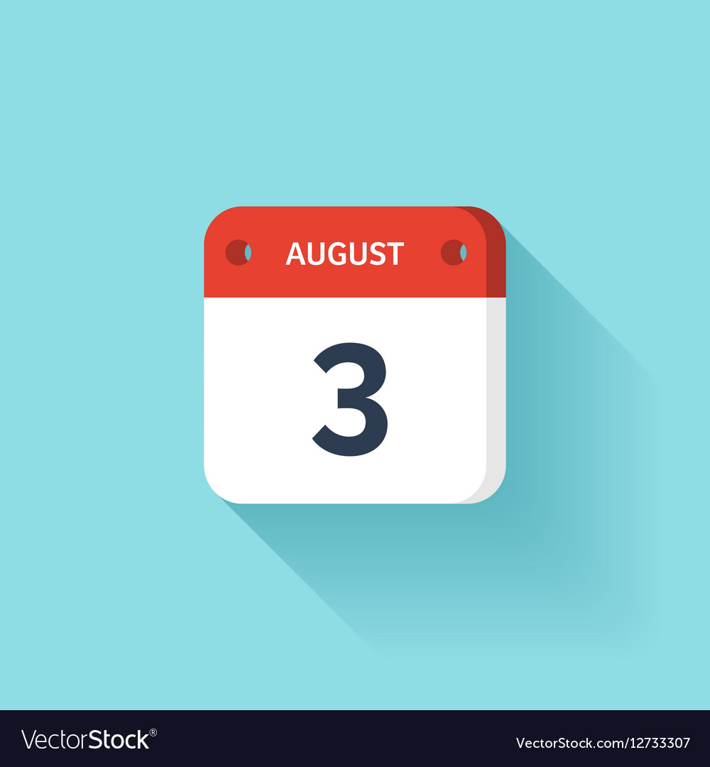 August 3 Isometric Calendar Icon With Shadow