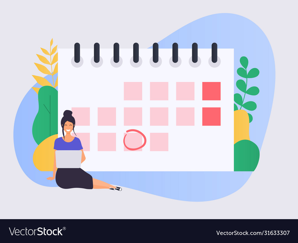 Business woman with a laptop have a calendar plan