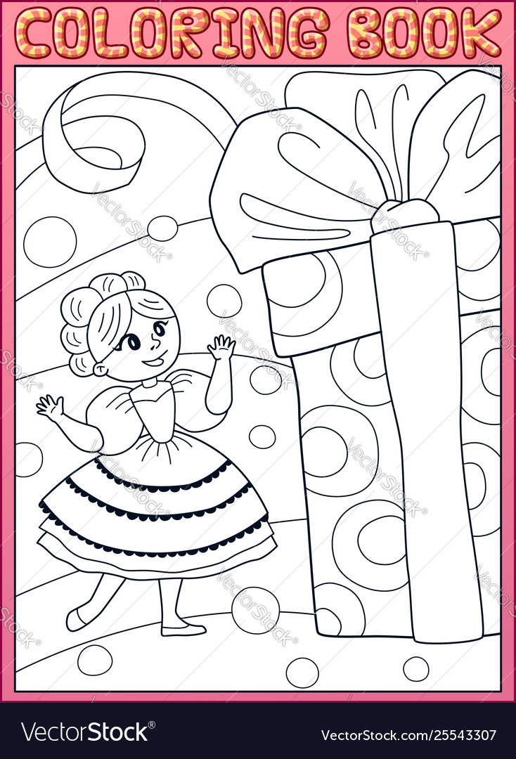 Coloring book princess girl with a birthday gift