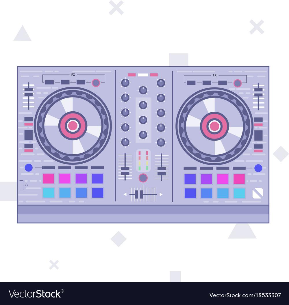Dj mixer controller flat line art