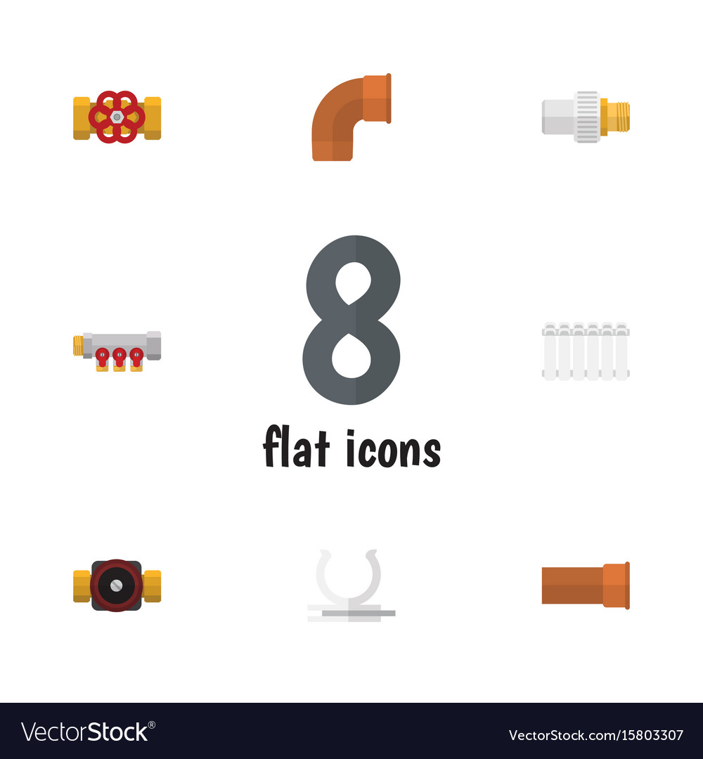 Flat icon industry set of conduit tap industry
