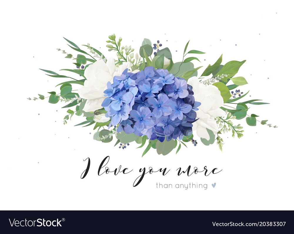Floral card design with tender hydrangea bouquet Vector Image