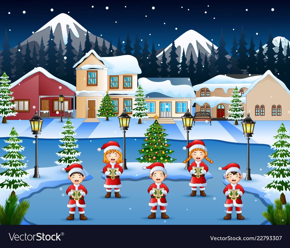 42049e1f7eed9 Happy children singing christmas carols in winter Vector Image
