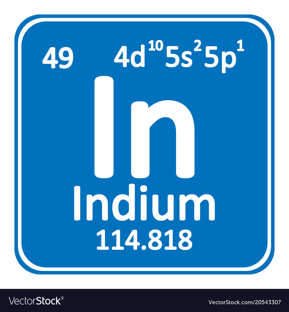Periodic Table Element Indium Icon Royalty Free Vector Image