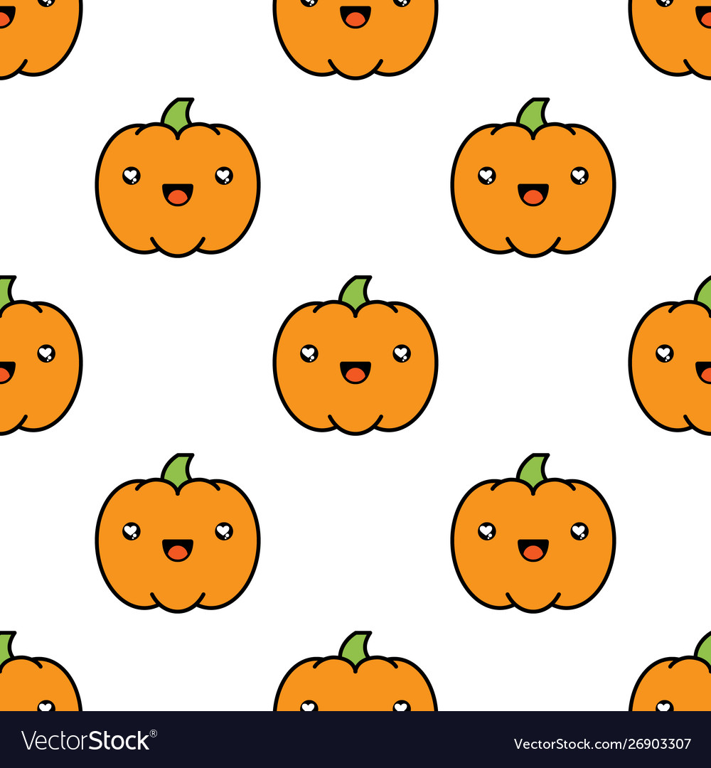 Seamless halloween pattern with pumpkins on white