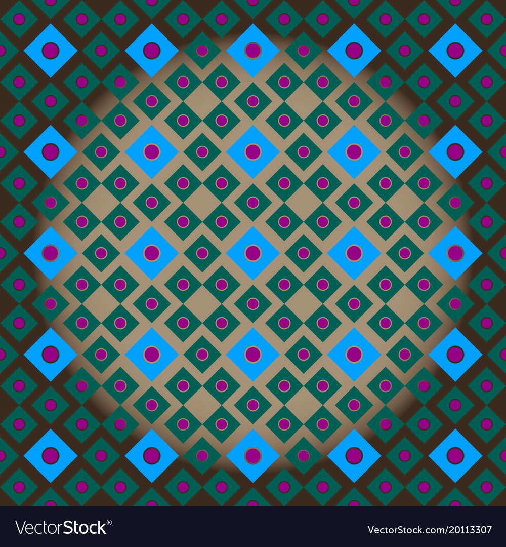Seamless ornament of squares of blue and green