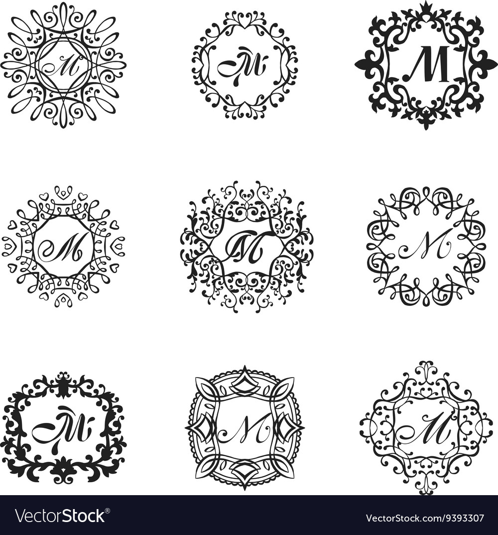 set luxury monogram template royalty free vector image