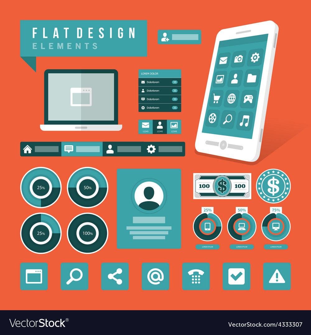 Set of Flat technology icons