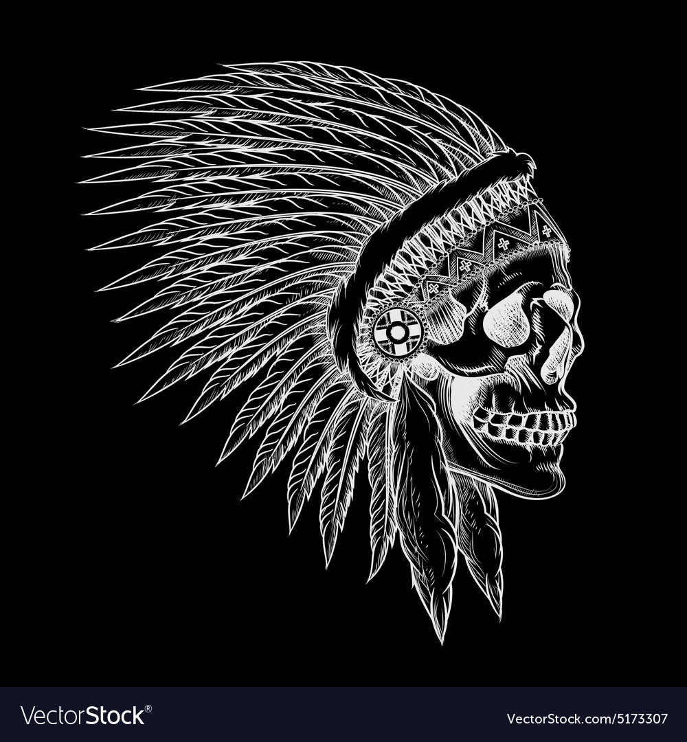 Skull of indian chief in hand drawing style