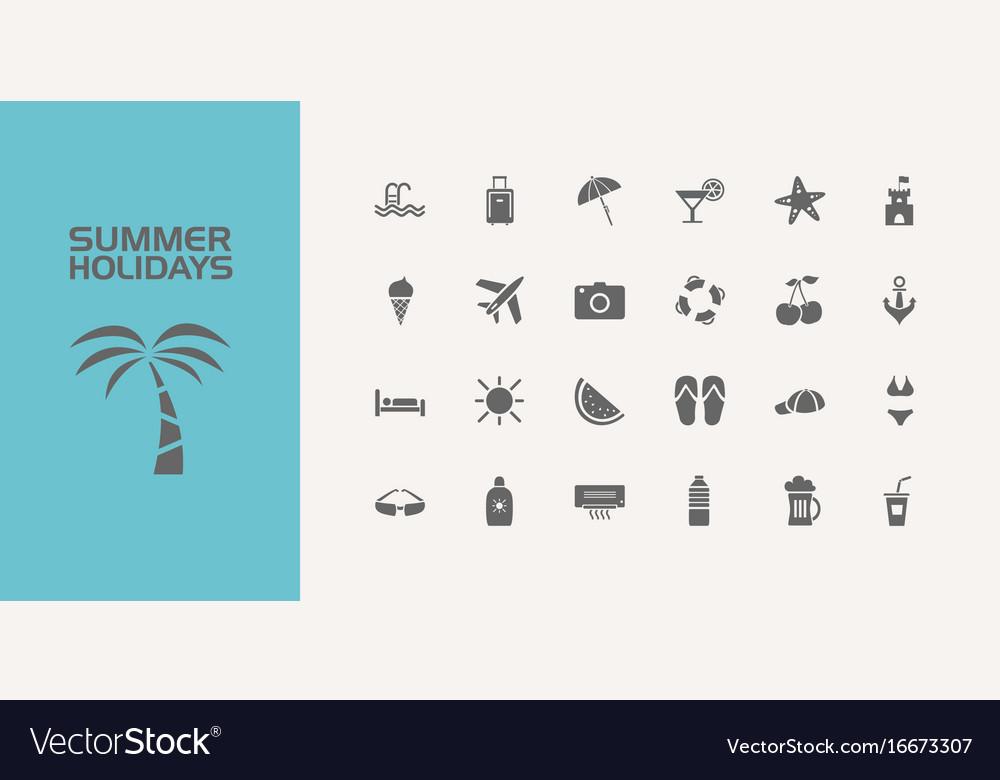 Twenty five summer holidays icons set