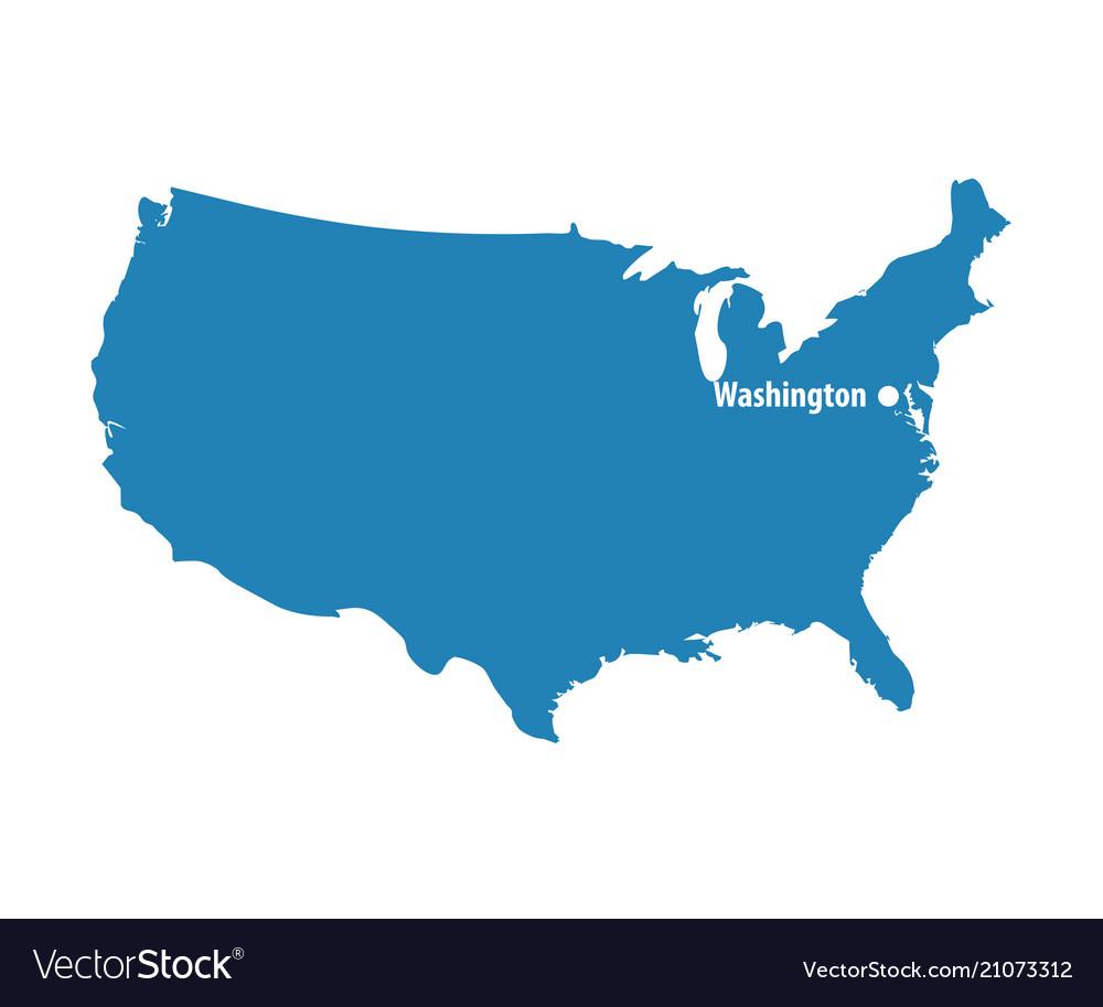 Blank Blue Similar Usa Map With Dc Washington Isol