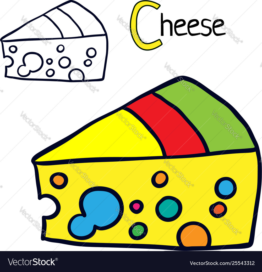 Cheese Coloring Book Page Royalty Free Vector Image