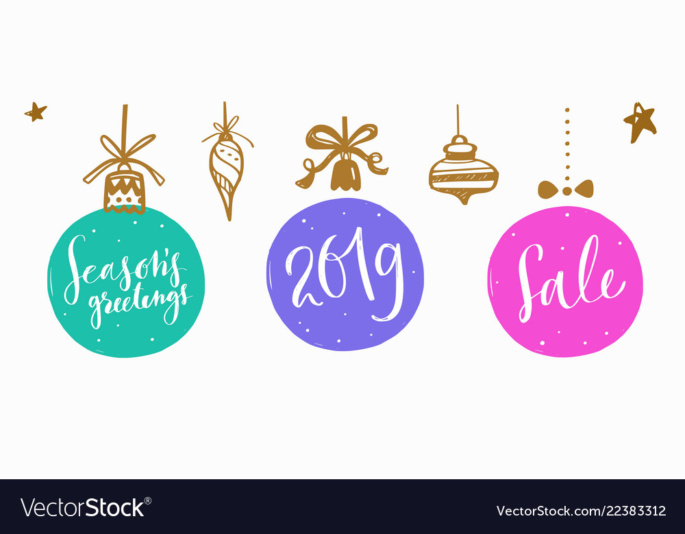 Christmas and new year lettering and calligraphy