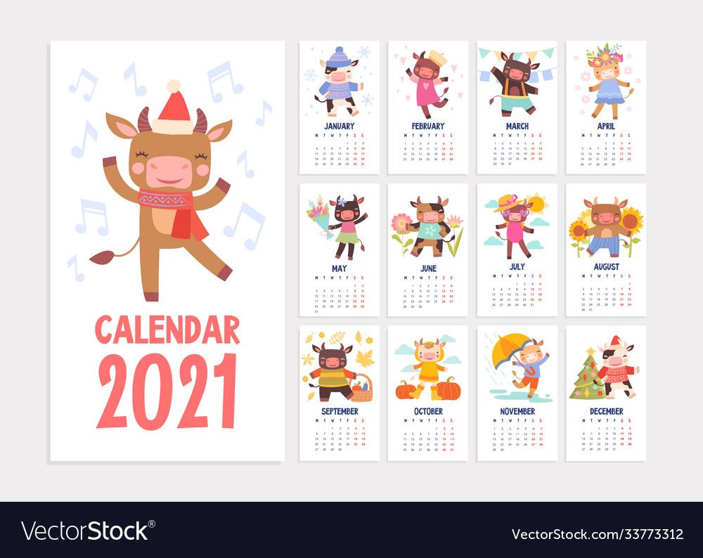 Cute 2021 calendar template with cartoon animals