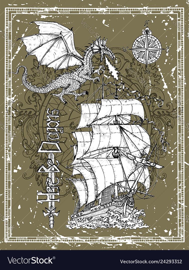 Hand drawn dragon old sailboat compass