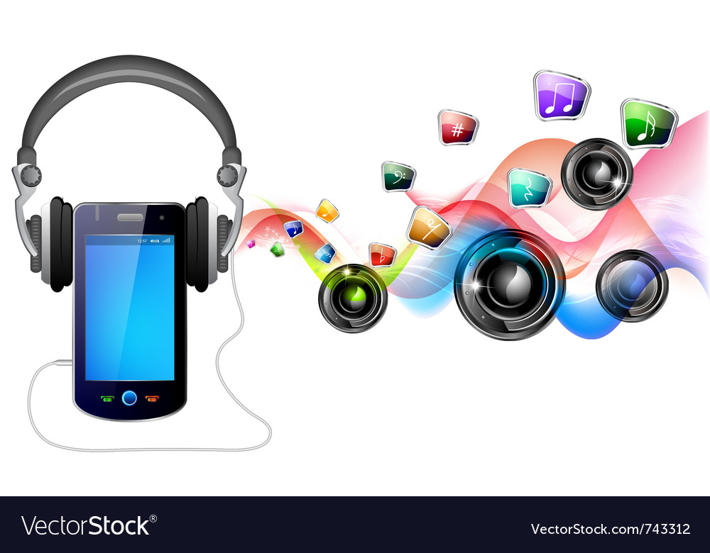 Mobile and music vector