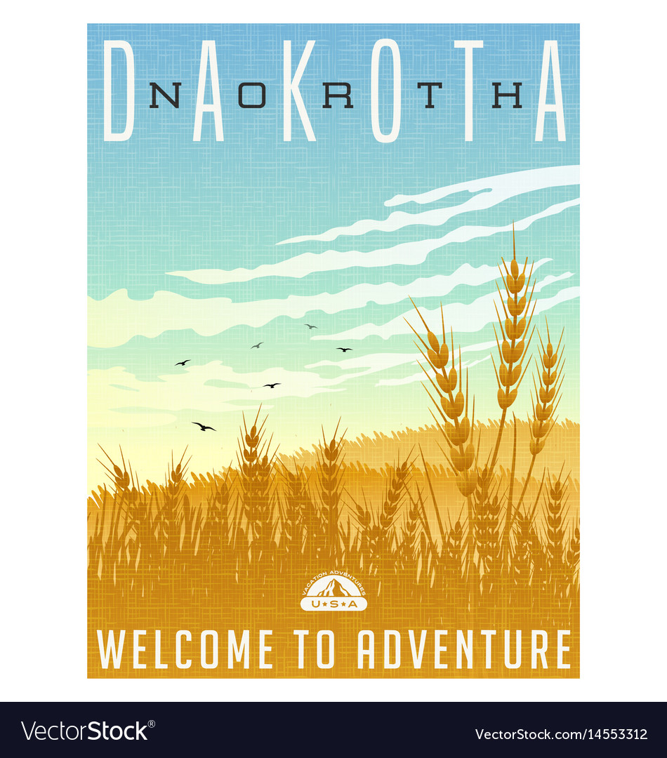 North dakota united states travel poster