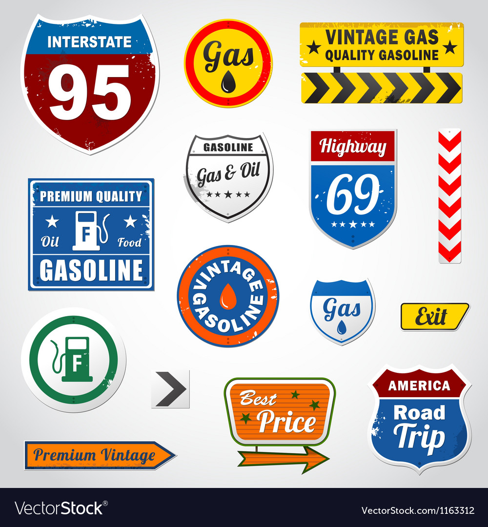 Set of vintage gasoline retro signs and labels