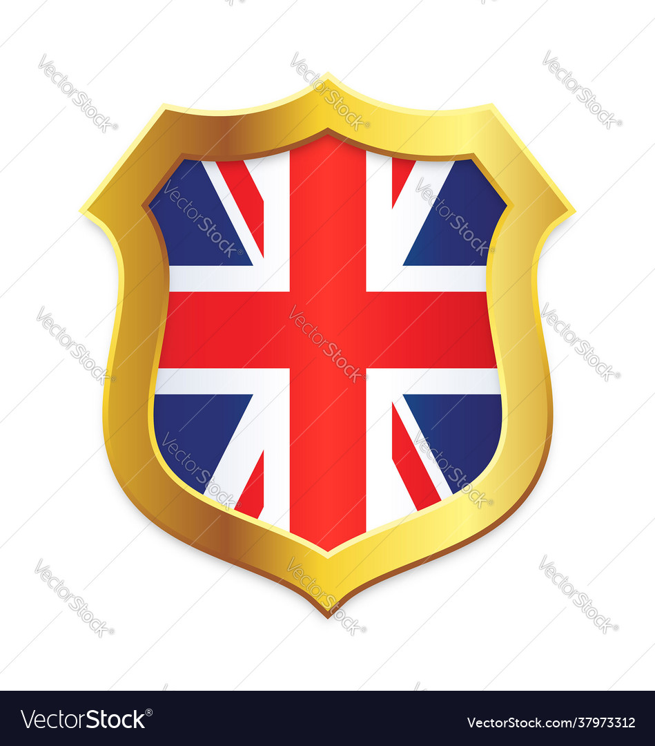 Shield classic gold with uk flag vertical
