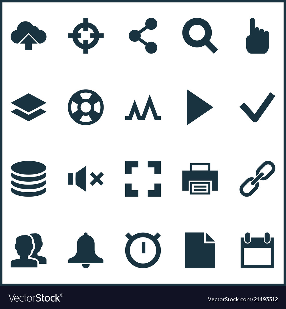 User icons set with search link mute and other
