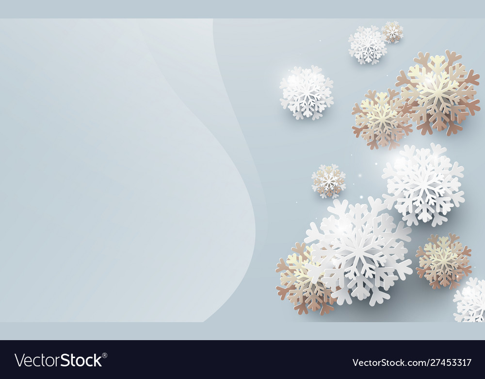 Abstract white and gold snowflakes background