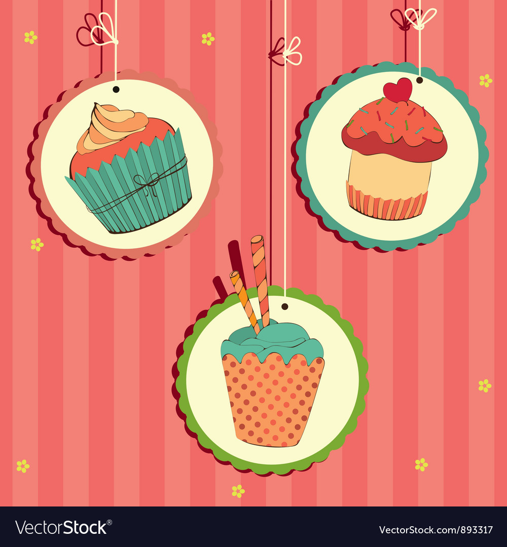 Cakes in frame on the string vector image