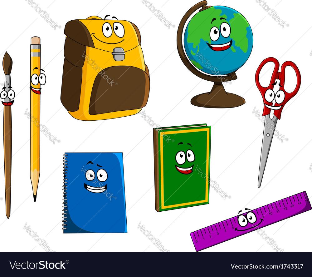 Cartoon school objects vector image