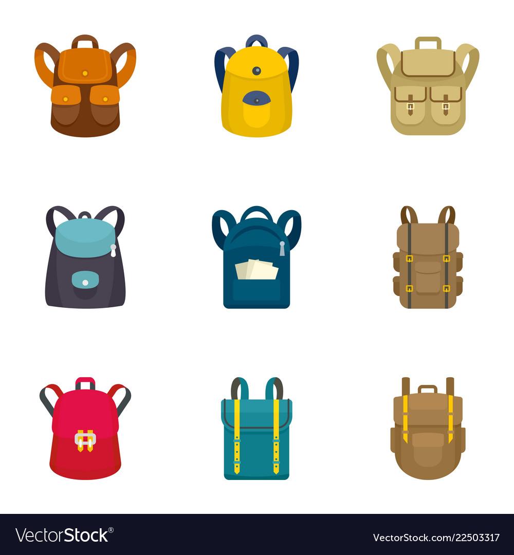 Climbing backpack icon set flat style