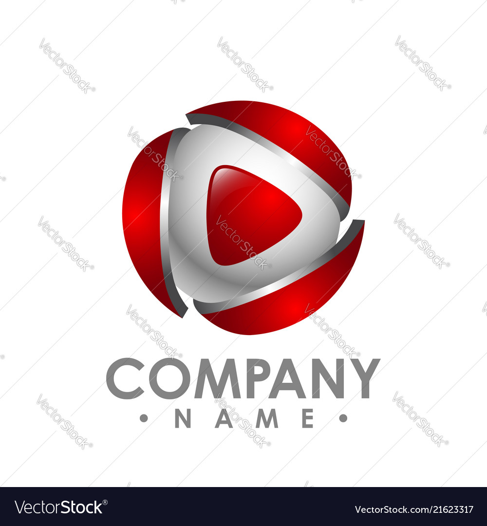 Creative abstract 3d media play button logo