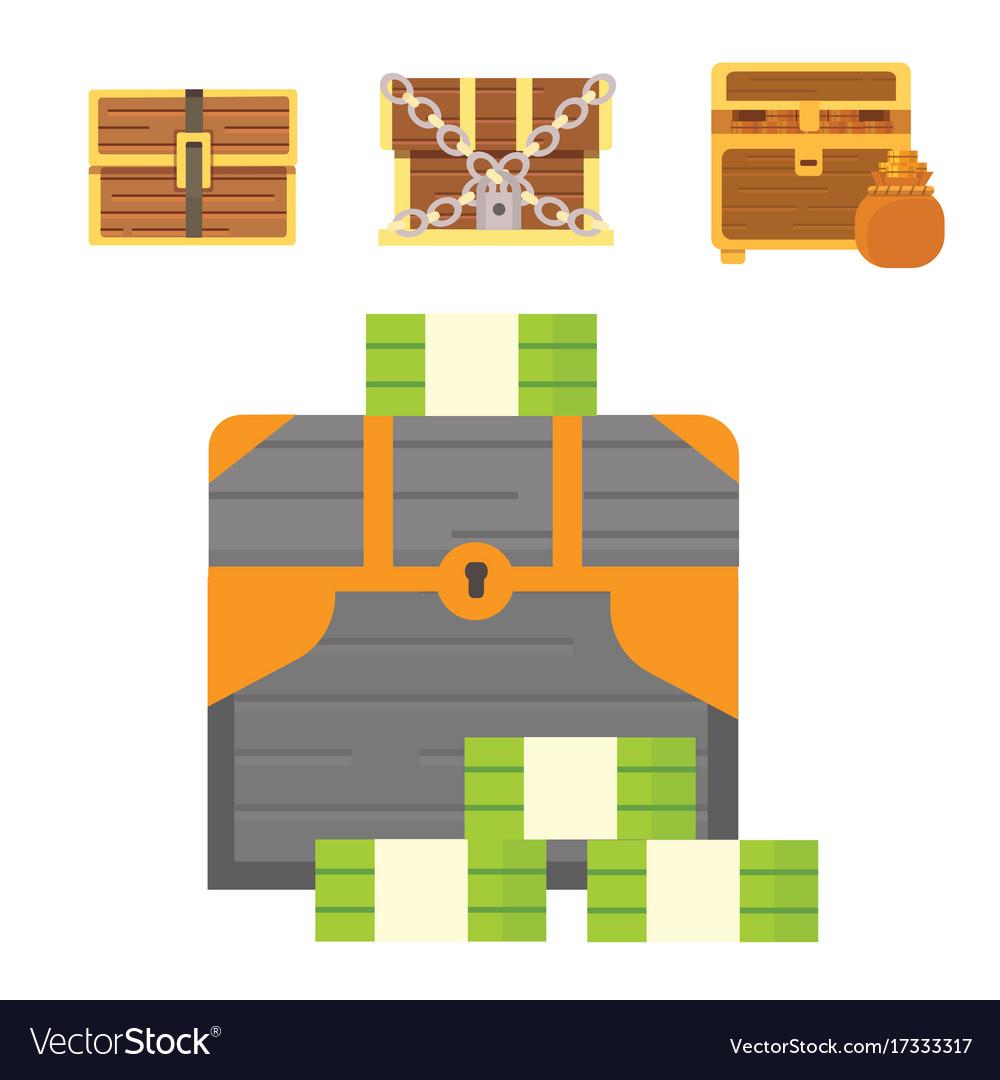 Cute set of diferent chests cartoon