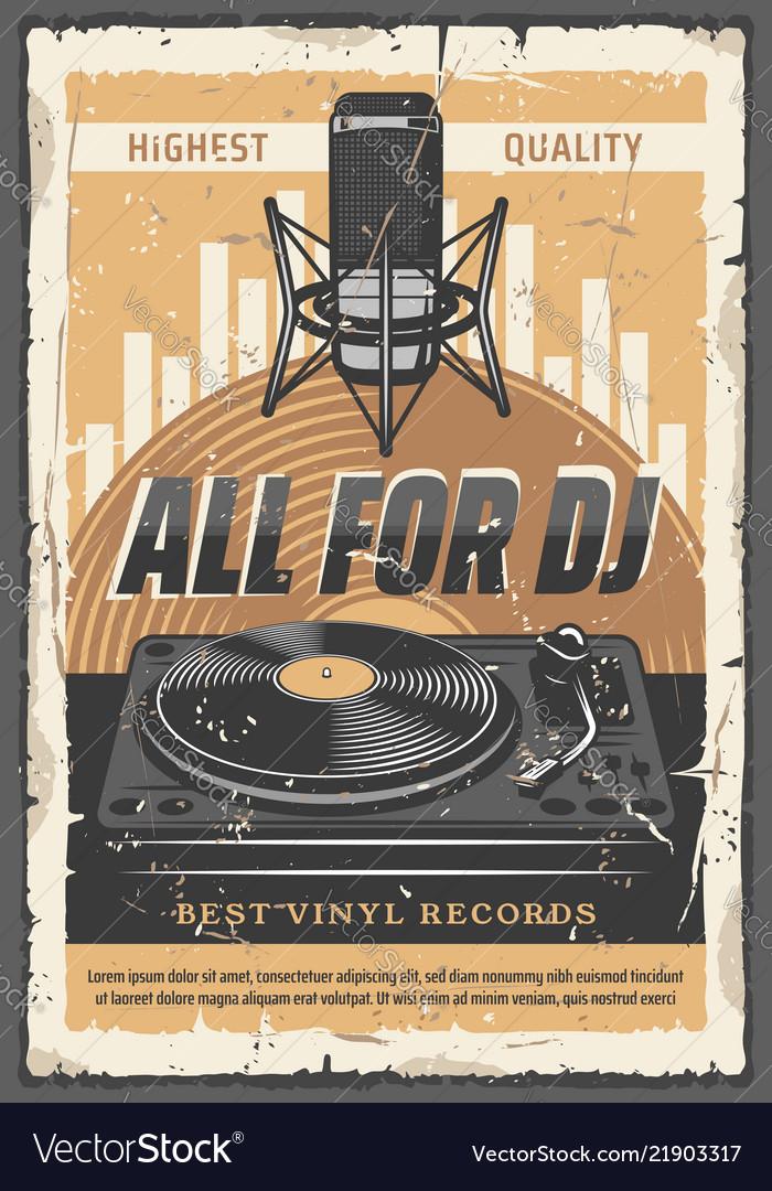 Dj vinyl records and microphone