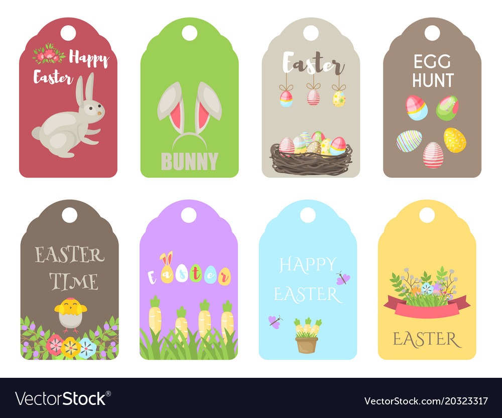Easter gift tags labels with cute cartoon vector image negle Choice Image
