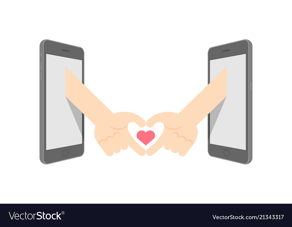 Hand Sign Language Heart Symbol Shape Between Two Vector Image
