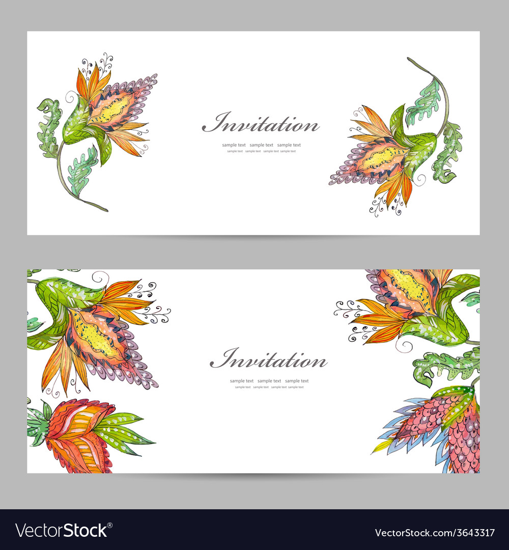 Invitation cards with exotic abstract flowers for