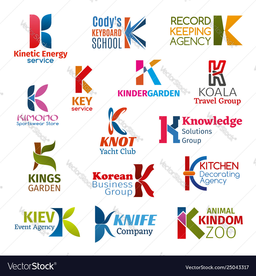 Letter k corporate identity business icons