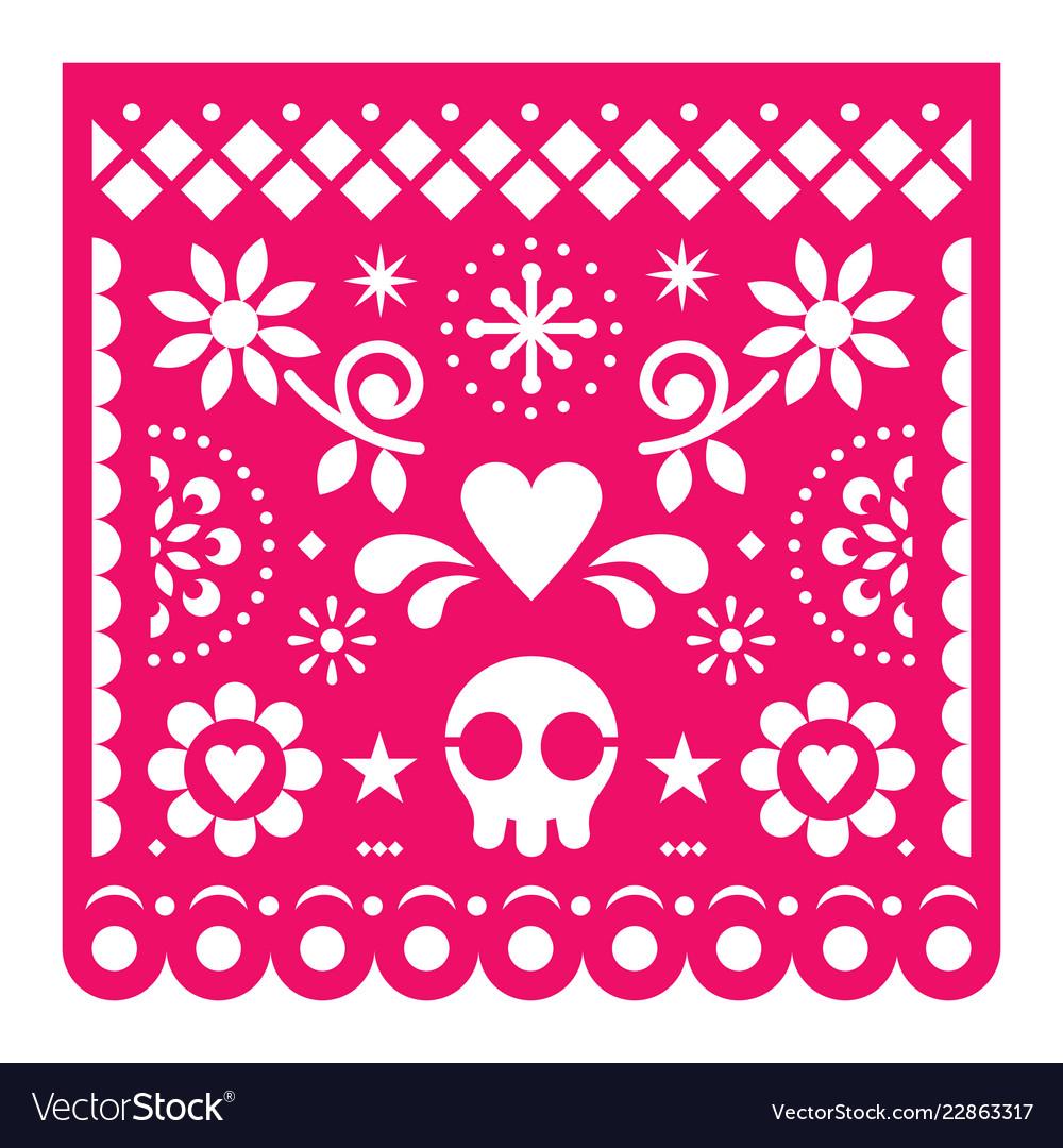 Mexican papel picado design pink retro