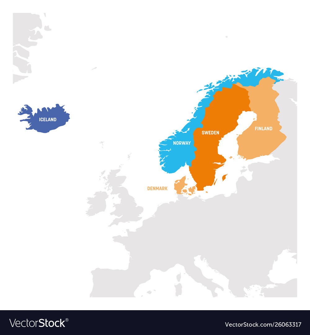 North europe region map countries of