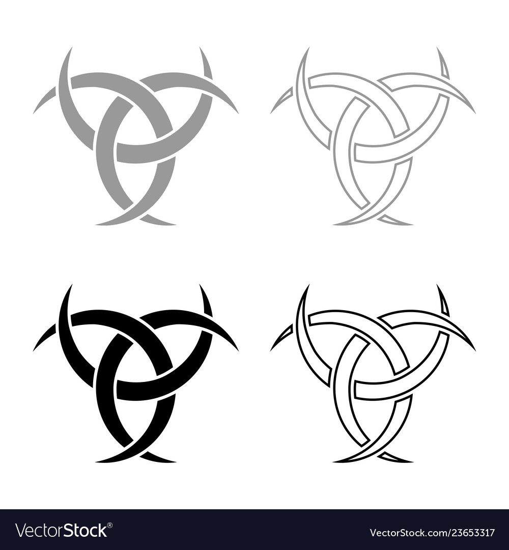 Odin horn paganism symbol icon set grey black