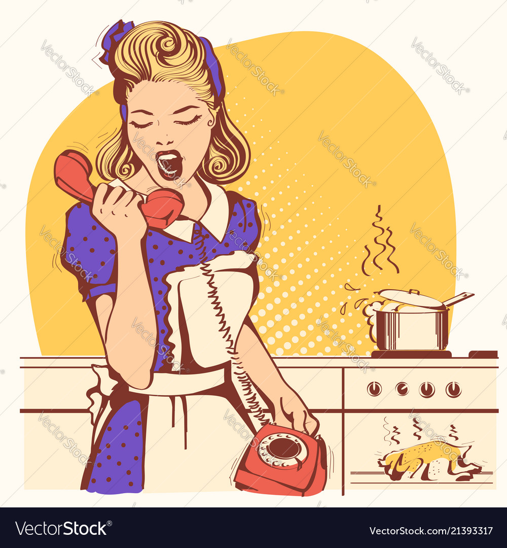 Retro housewife talking and shouting on phone