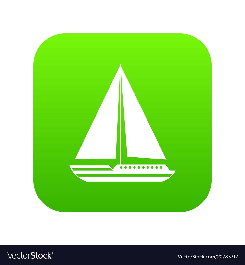 Sea yacht icon digital green