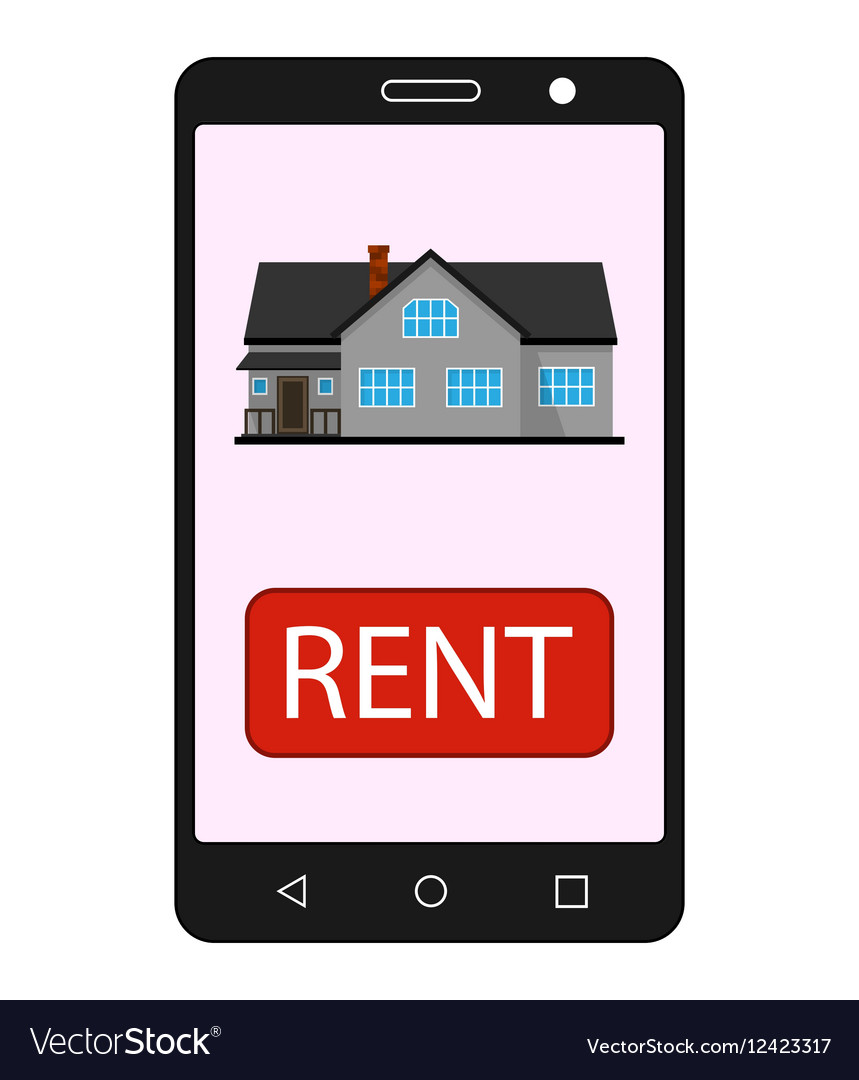 Smartphone with realty app House sale