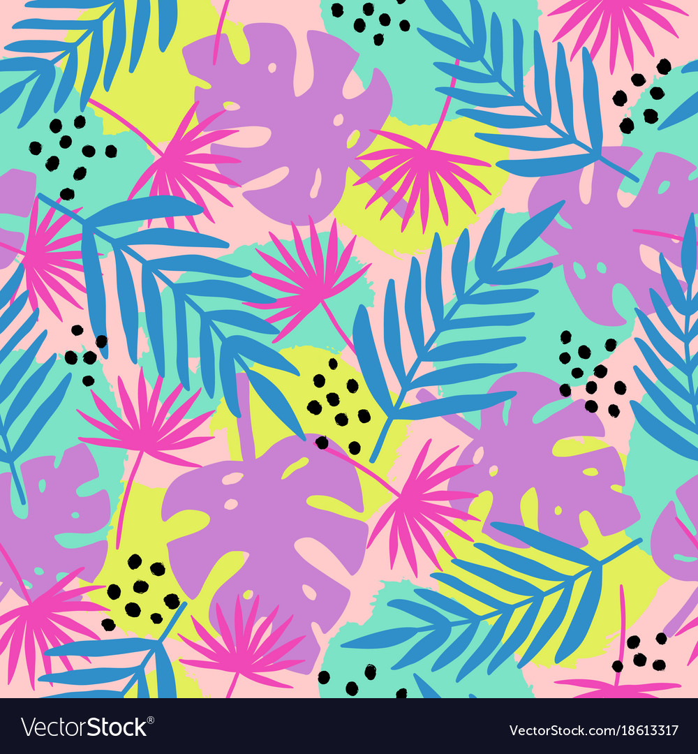 Trendy tropical leaves seamless pattern vector image