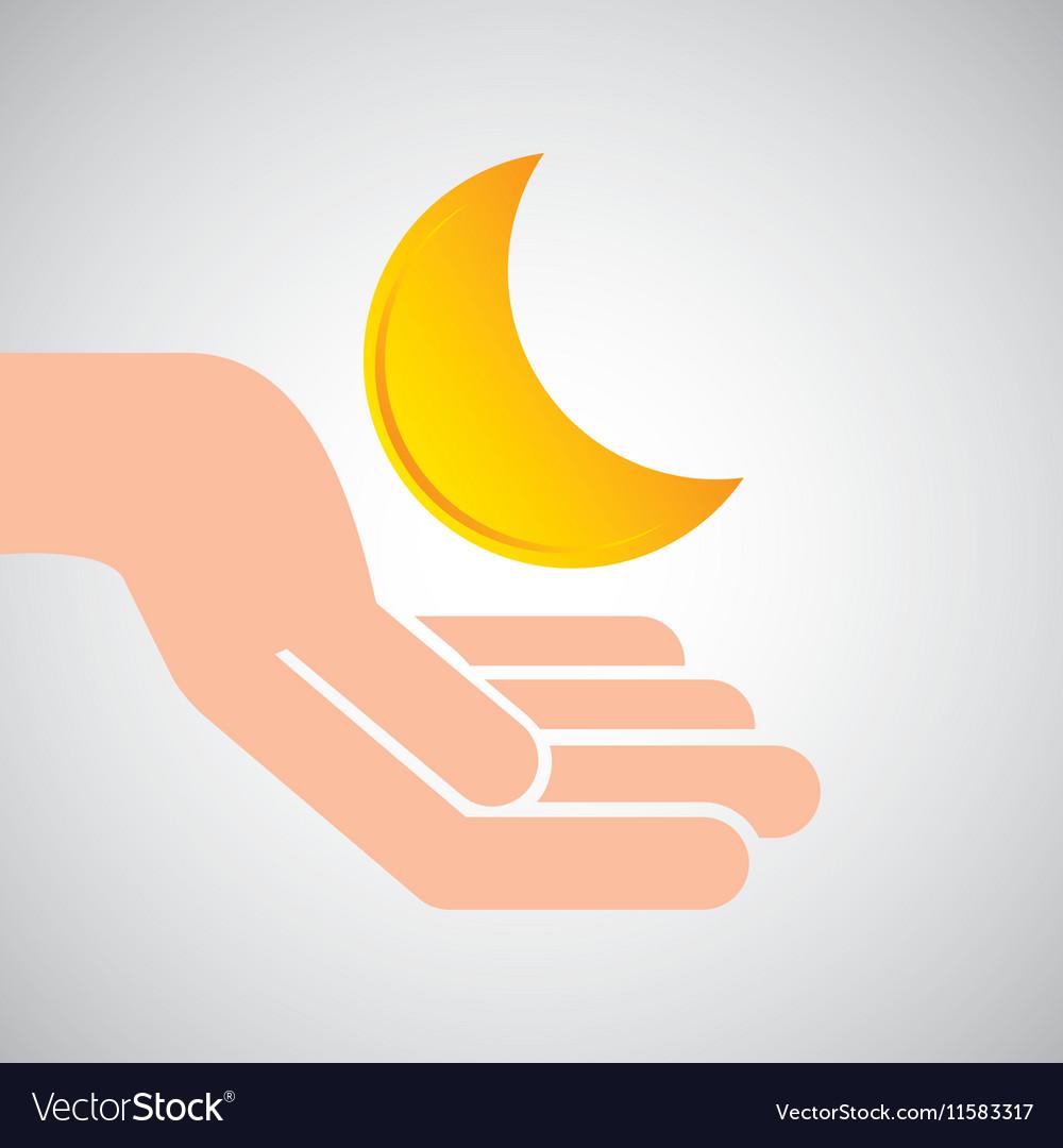 Weather concept forecast half moon icon design